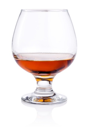 intoxicant: Glass of or brandy isolated on white background Stock Photo