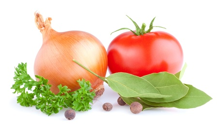 Fresh gold onions, red tomato, pimento, parsley and bay leaves isolated on white background Stock Photo - 18405959