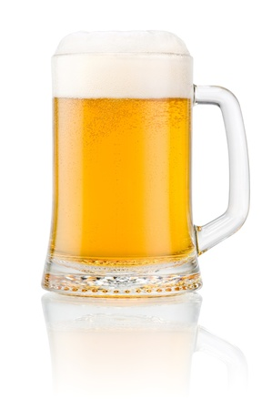draught: Mug fresh beer with cap of foam isolated on white background