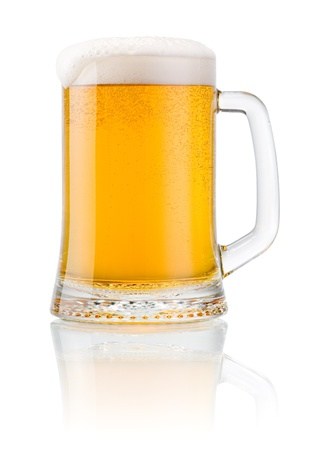 fill up: Mug fresh beer with cap of foam isolated on white background