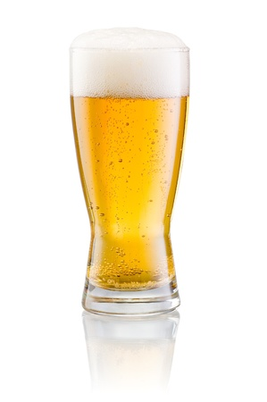 single beer: Glass of fresh beer with cap of foam isolated on white background