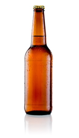 single beer bottle: Brown bottle of beer with drops on a white background Stock Photo