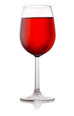 sektglas: Glas Rotwein auf einem weißen Hintergrund isoliert