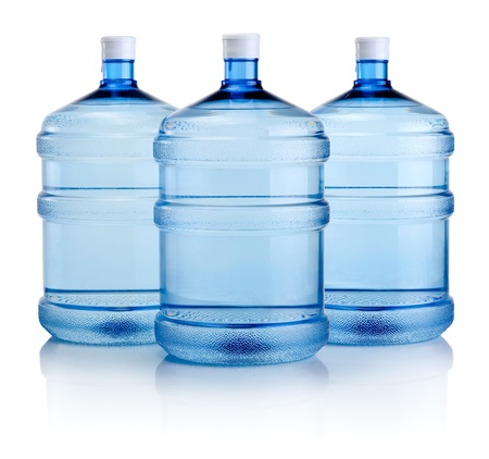 Three big bottles of water isolated on a white background Stok Fotoğraf