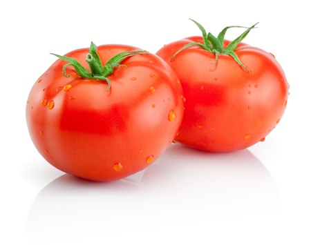 Two Fresh wet tomatoes isolated on white background photo