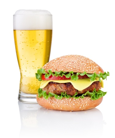 bottled beer: Hamburger and Glass of beer isolated on white background