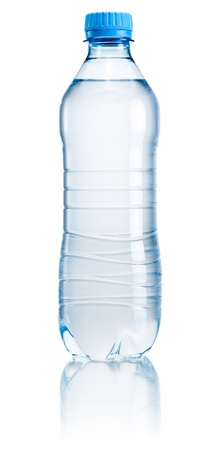 still water: Plastic bottle of drinking water isolated on white background Stock Photo