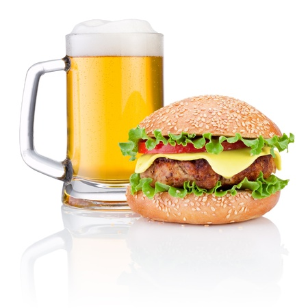 Hamburger and Mug of beer isolated on white background