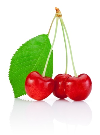 sour cherry: Three Cherry with stem and a leaf isolated on white background