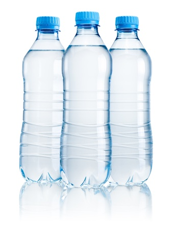 Three plastic bottle of drinking water isolated on white background Stock Photo - 21036153