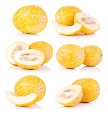 honeydew: Set fresh honeydew melon isolated on a white background