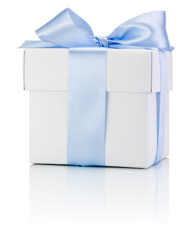 boxs: One White boxs tied Blue satin ribbon bow Isolated on white background