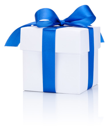 blue ribbon: One White boxs tied Blue satin ribbon bow Isolated on white background