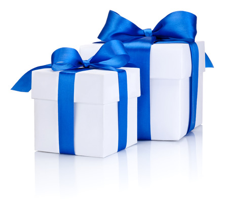blue box: Two White boxs tied with a blue satin ribbon bow Isolated on white background