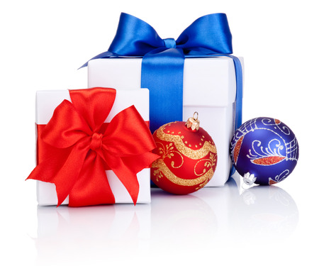 boxs: Two White boxs tied with Red and Blue satin ribbon bow, Christmas balls Isolated on white background