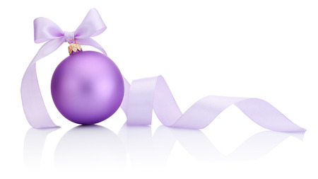 Purple Christmas Bauble with ribbon bow Isolated on white background Фото со стока