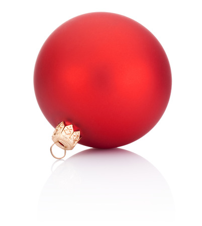 Christmas ball red decoration Isolated on white background Banco de Imagens