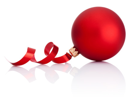 red tape: Red Christmas ball and curling paper Isolated on white background