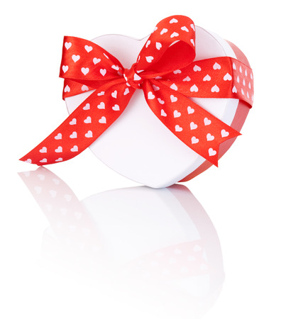Heart Shaped Box Gift tied with ribbon with a bow Isolated on white Stock Photo - 24965922