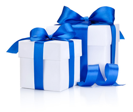 blue box: Two White boxs tied Blue satin ribbon bow Isolated on white background Stock Photo