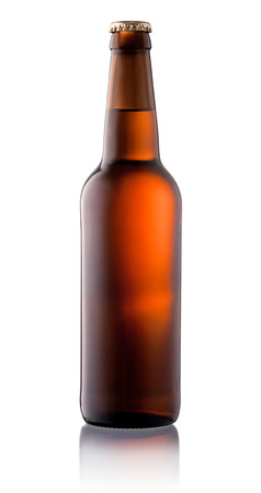 single beer: Brown beer bottle isolated on white background