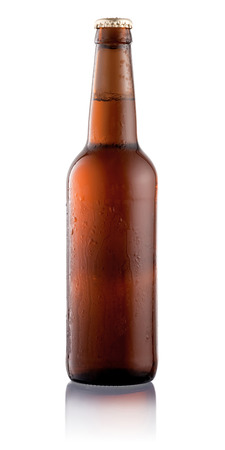 single beer bottle: Beer bottle with condensation water drops isolated on white background Stock Photo