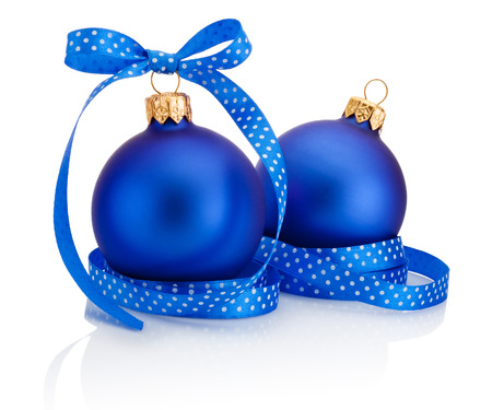 christmas bubbles: Two blue Christmas ball with ribbon bow Isolated on white background