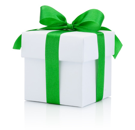 gift parcel: White box tied green ribbon bow Isolated on white background Stock Photo