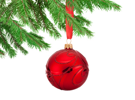 fir twig: Red decorations Christmas ball hanging on a fir tree branch Isolated on white background