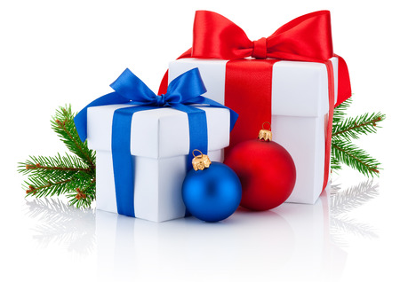 boxs: Two white boxs tied red and blue ribbon bow, pine tree branch and christmas balls Isolated on white background