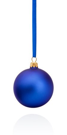 Blue Christmas ball hanging on ribbon Isolated on white background