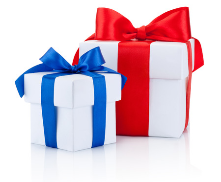 boxs: Two White gift boxs tied blue and red ribbons bow Isolated on white background