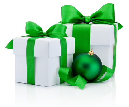 boxs: Two White boxs tied green satin ribbon bow and christmas ball Isolated on white background