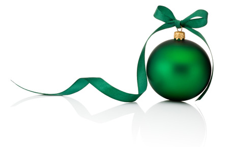 holiday ornament: Green Christmas ball with ribbon bow Isolated on white background