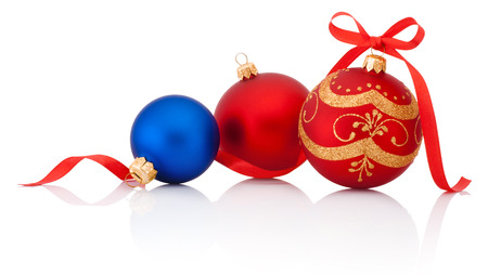 stock photo three decorations christmas ball with ribbon bow isolated on white background