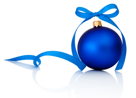Blue Christmas ball with ribbon bow Isolated on white background Banco de Imagens
