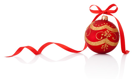 Red christmas decoration ball with ribbon bow isolated on white background