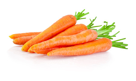 Heap of carrots isolated on a white background Foto de archivo