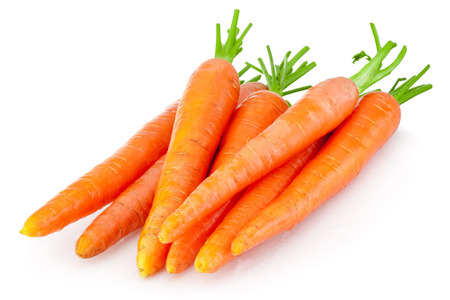 Heap of carrots isolated on a white background Stok Fotoğraf