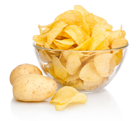Potato chips in glass bowl isolated isolated on white background