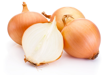 half cut: Fresh onion bulbs isolated on white background Stock Photo