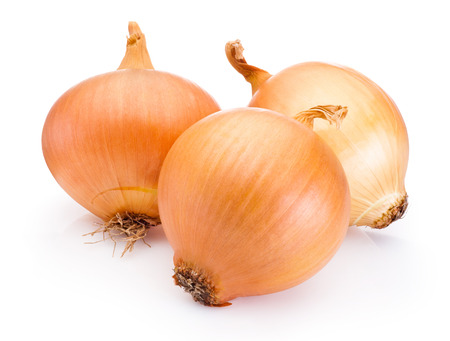 Three onion bulbs isolated on white background Banco de Imagens - 42100793