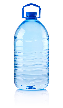 Plastic bottle of drinking water isolated on white background Standard-Bild