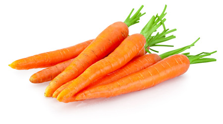 Heap of carrots vegetable isolated on a white background