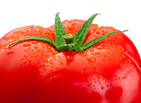 droplet: Top fresh tomato close-up and drops of water isolated on white background Stock Photo