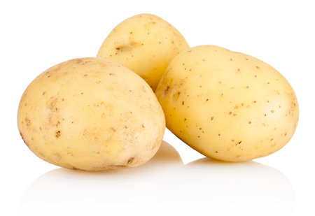 Three new potato isolated on white background