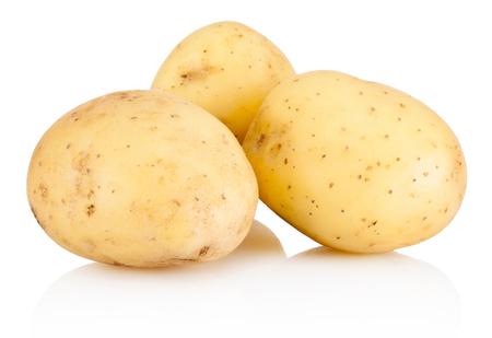 Drie nieuwe aardappel op een witte achtergrond Stockfoto