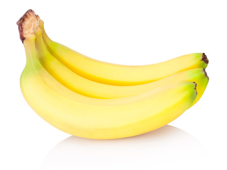 Three bananas isolated on a white background Stok Fotoğraf