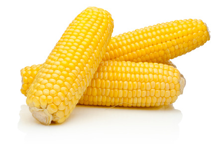 on a white background: Corn on the cob kernels peeled isolated on a white background Stock Photo