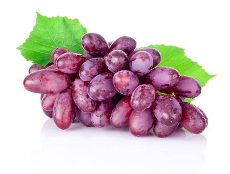 droplet: Fresh wet red grapes isolated on white background